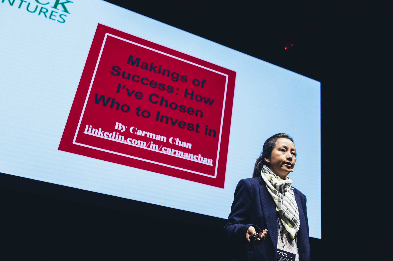 Carman Chan speaks at Slush Shanghai about how she chooses startups to invest in.